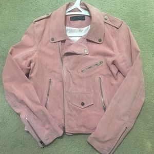 Baby pink leather suede Moto jacket!